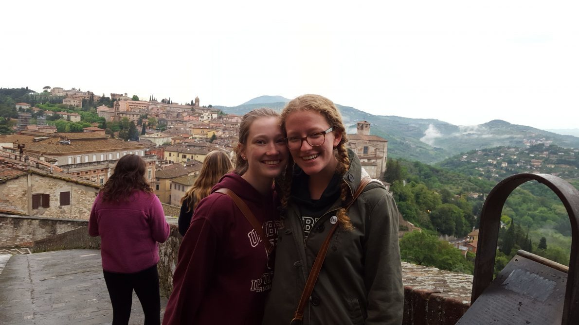 Helen and her significant other on their last night in Perugia, the town where they were studying.