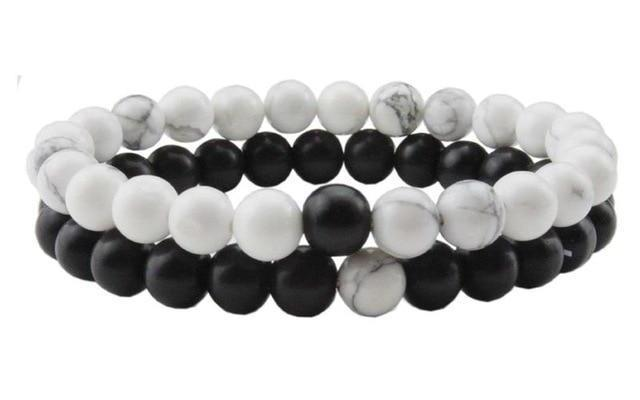 Long distance bracelet - black and white